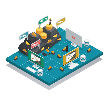 Miners of cryptocurrency isometric composition with coins in mountain and on trolley, computers and blockchain vector illustration