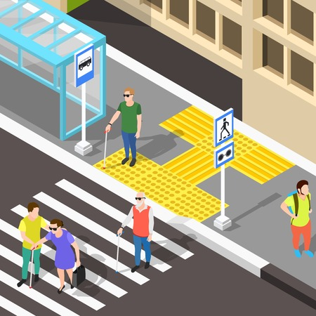 Isometric blind people background with urban scenery bus stop and zebra-stripe crosswalk with corduroy tactile paving vector illustration Illustration