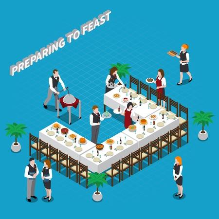 ウェイター、食器、青い背景のベクトル図にテーブルの上に食べ物の等尺性のコンポジションの饗宴の準備
