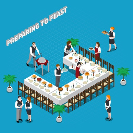 Preparing to feast isometric composition with waiters, dishware and food on table on blue background vector illustration