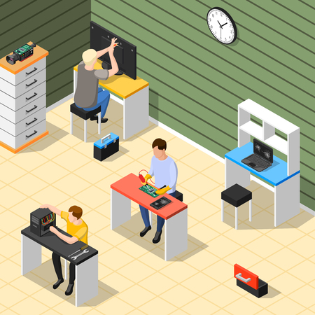 Service centre isometric composition with technical staff in office room repairing electronic devices of high complexity isometric vector illustration 向量圖像
