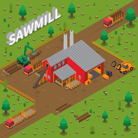 Colored sawmill timber mill lumberjack isometric composition with construction of building in a sawmill vector illustration Ilustracja