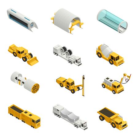 machines et équipements pour la construction de bâtiments icônes isométriques ensemble isolé sur fond blanc 3d illustration vectorielle Vecteurs