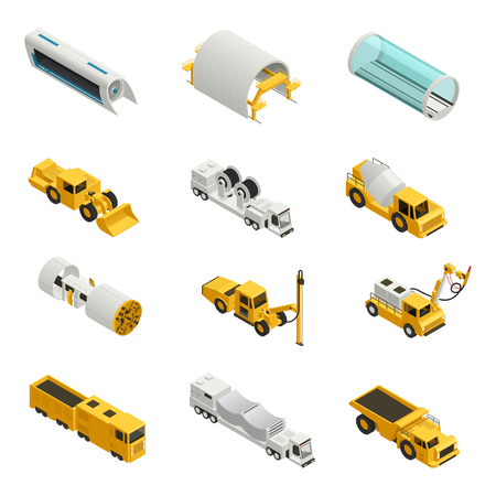 Machinery and equipment for tunnel construction isometric icons set isolated on white background 3d vector illustration