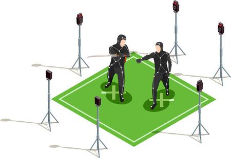 ソードアイソメ cinematograph コンポジション3d ベクトルイラストと黒の衣装で2人の俳優