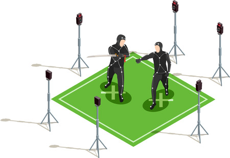 Two actors in black costumes with sword isometric cinematograph composition 3d vector illustration