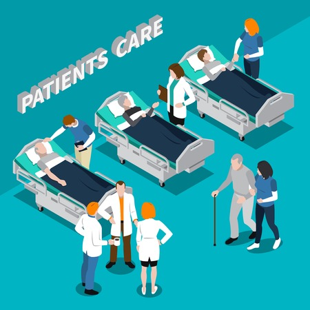 Colored volunteer charity people isometric composition with hospital and patients care description vector illustration