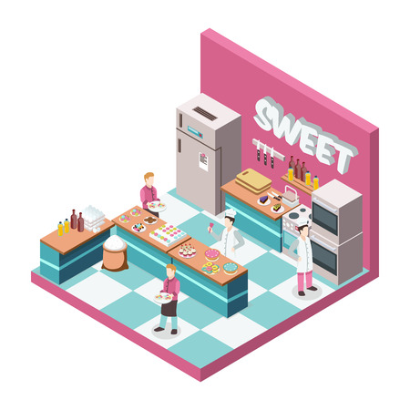 Sweet shop kitchen with bakers and waiters, desserts, food products, utensils, equipment and furniture isometric vector illustration