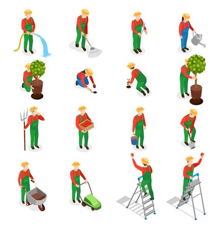 De pictogrammeninzameling van tuinman isometrische mensen van geïsoleerde menselijke karakters in eenvormig met installaties en hulpmiddelen vectorillustratie
