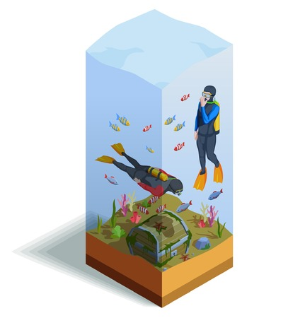 Scuba diving snorkelling isometric composition of two human characters in diving suits over the sea bottom vector illustration