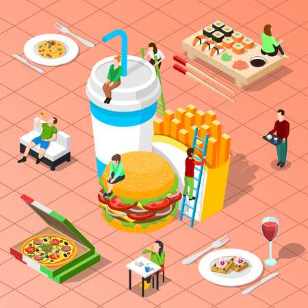 Fast food isometric composition with pizza grilled potato hamburger sushi big icons and little people figurines vector illustration