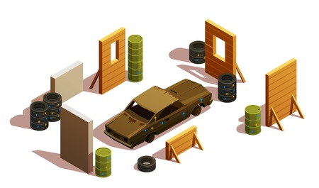 Paintball isometric composition with burned-out car surrounded by barriers and pieces of scenery with shadows vector illustration