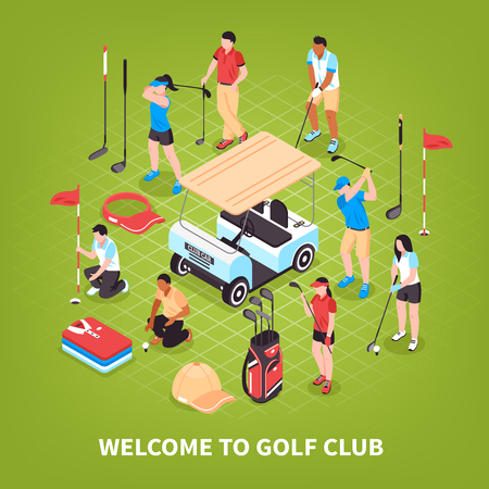 Golf club concept with game and competition symbols isometric vector illustration Иллюстрация