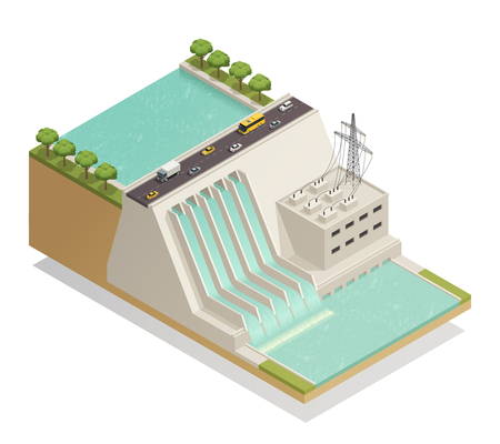 Ecological green energy renewable electricity generation isometric composition with hydroelectric power production station facility vector illustration