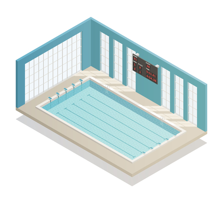 Swimming pool deep bath lanes with electronic board isometric and tiled walls isometric interior view vector illustration Illustration