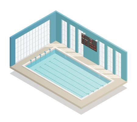 Stroken van het zwembad de diepe bad met elektronische isometrische en betegelde muren isometrische binnenlandse menings vectorillustratie Stock Illustratie