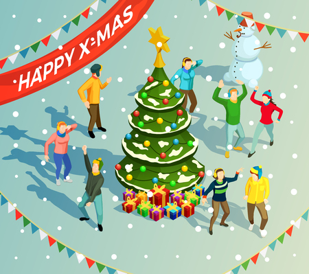 新年の休日のパーティーでクリスマスツリーの周りに踊る人々3d アイソメベクトルイラスト