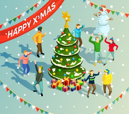 La gente che balla intorno all'albero di Natale al partito di festa del nuovo anno illustrazione isometrica di vettore 3d Archivio Fotografico - 87532352