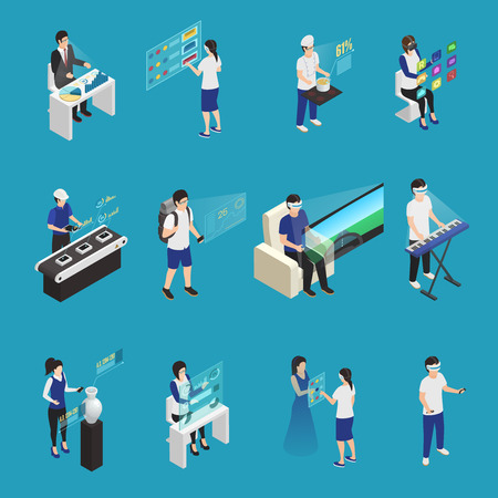 Isometric set of male and female people wearing augmented reality glasses in different situations isolated on blue background 3d vector illustration Çizim