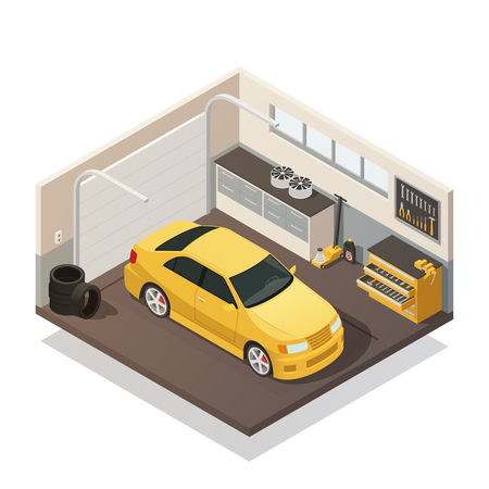 Yellow car in autoservice garage facility ready for test and tires fixing isometric interior view vector illustration