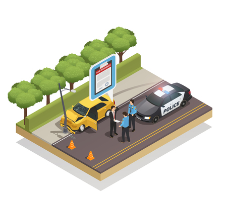 Isometric composition of car crashed into lamp post and driver showing insurance to policemen 3d vector illustration Illustration