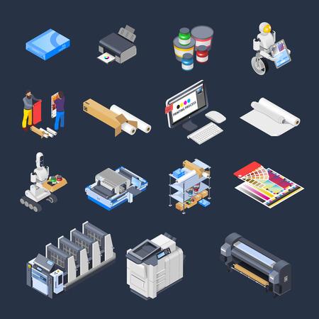 Los iconos isométricos de la industria de la poligráfica de la casa de la impresión fijaron de los consumibles de la impresora de los periféricos de computadora aislados y de la ilustración del vector de los muebles