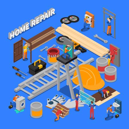 等角色の家の修理労働者の修理および用具に設定される結合されたアイコンが付いている人々の構成テーマベクターイラスト