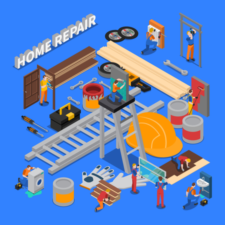 Isometric colored home repair worker people composition with combined icon set on repair and tools of workers theme vector illustration Illustration