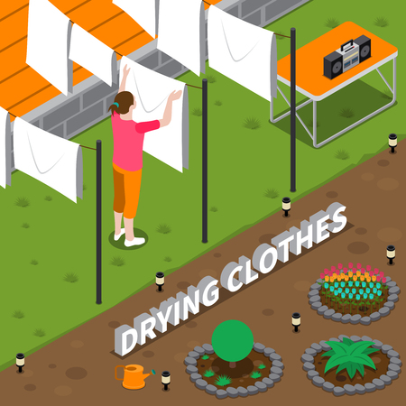 Drying clothes isometric composition with housewife hanging wet linen on rope in yard of house vector illustration Illustration