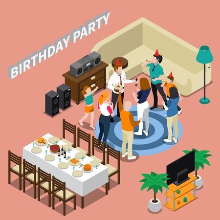 Isometrische Zusammensetzung der Geburtstagsfeier mit Festtabelle, Glückwünsche von Leuten, Ausgangsinnenraum auf rosa Hintergrundvektorillustration
