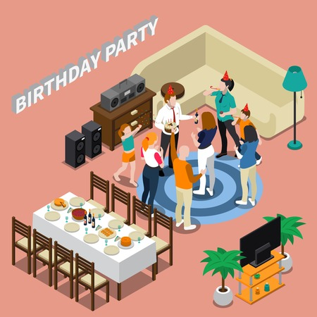 Birthday party isometric composition with feast table, congratulations of people, home interior on pink background vector illustration Illustration