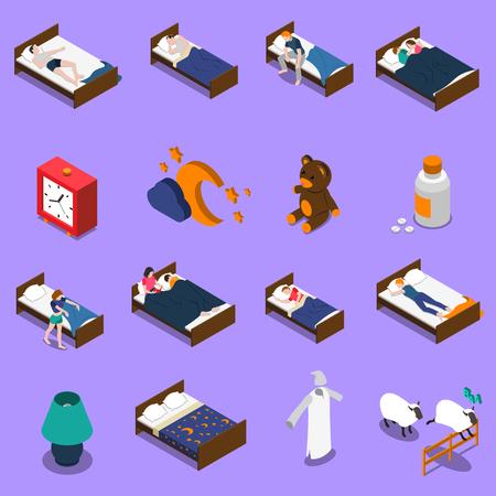 Schlafzeitsatz von isometrischen Ikonen mit Personen im Bett, Uhr auf blauem Hintergrund lokalisierte Vektorillustration Standard-Bild - 87532365