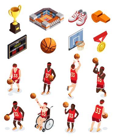 De inzameling van basketbal isometrische pictogrammen van geïsoleerde menselijke karakters van de punten en de toekenning van het spelersmateriaal met schaduwen vectorillustratie