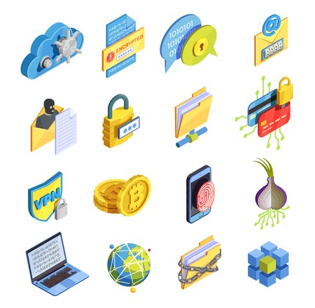 Data encryption cyber security isometric icons collection of isolated symbols bitcoin fingerprint and proxy avoidance pictograms vector illustration Illustration
