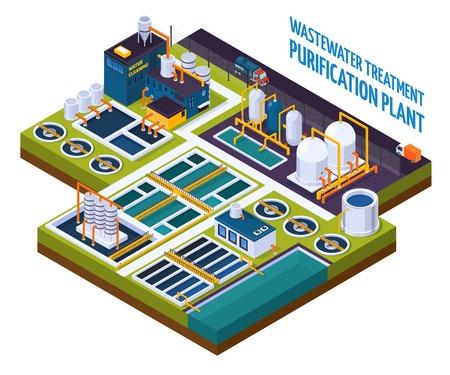 Planta de purificación con limpieza de agua, estación de bombeo, filtros, separadores, composición isométrica con camiones en la ilustración de vector de carretera