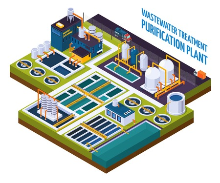 Purification plant with water cleaning, pumping station, filters, separators, isometric composition with trucks on road vector illustration