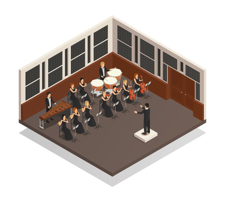 Conductor and musicians playing xylophone flute drums violin trumpet in orchestra 3d isometric vector illustration Illustration