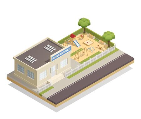 De kleuterschoolbouw met bomen en kinderenspeelplaats met dia, schommeling, banken, zandbak, klimrek isometrische vectorillustratie