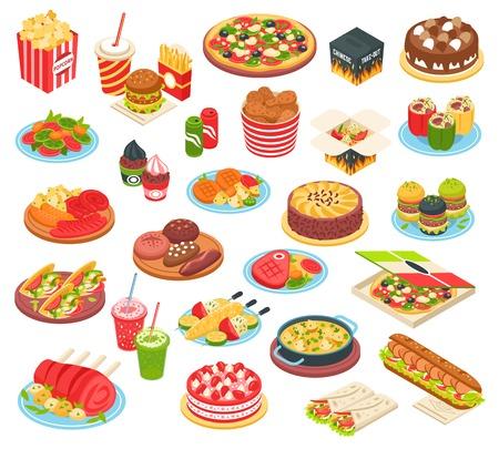 Snel voedsel isometrische die pictogrammen met pizza geroosterde de hamburgercake van de aardappelhamburger en andere maaltijd van het snelle koken geïsoleerde vectorillustratie worden geplaatst