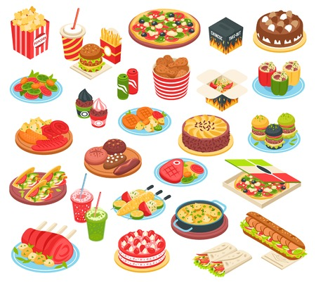 Fast food isometric icons set with pizza grilled potato hamburger  hot dog cake and other meals of quick cooking isolated vector illustration
