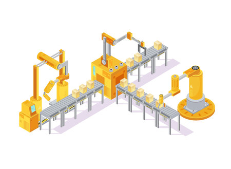 Conveyor equipment isometric composition with robotic hand for welding and boxes on lines 3d vector illustration Illustration