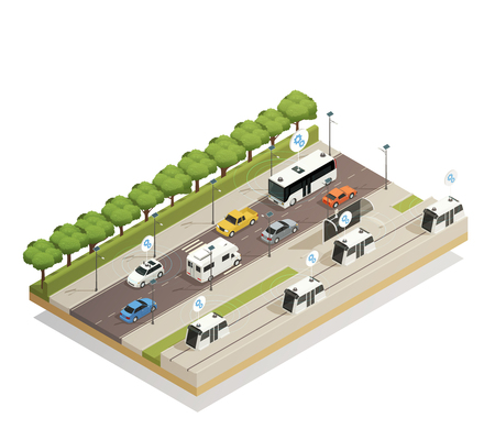 Smart city traffic assistance technology integrating cars in infrastructure isometric view busy road composition poster vector illustration