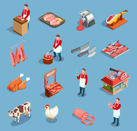Butcher shop butchery isometric set of isolated icons with farm animals human characters and semifinished meat vector illustration