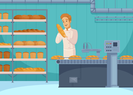 Bread production cartoon composition with smiling worker, loafs on conveyor line, shelves with flour products vector illustration