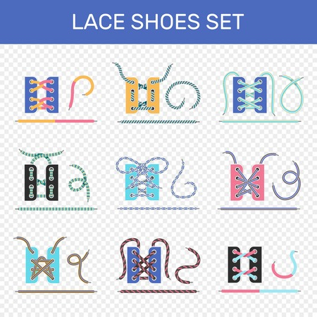 8 ways to lace sport shoes colorful icons collection on transparent background isolated vector illustration Stok Fotoğraf - 87747208