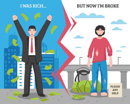 Gekleurde dakloze mensen na vóór samenstelling met de verschillen tussen de rijke en slechte mensen vectorillustratie