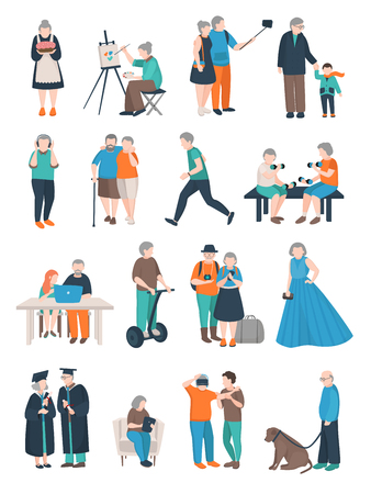 Modern aged people flat set of isolated doodle style human characters of various elderly people activities vector illustration Çizim