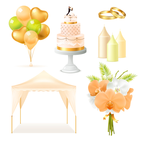 Wedding elements realistic set with outdoor tent, cake, candles, rings, bunch of flowers, balloons isolated vector illustration Çizim