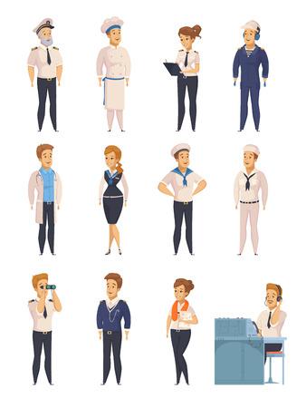 Los iconos de la historieta de los caracteres del equipo del trazador de líneas del barco de la nave del yate fijaron con el ejemplo aislado del vector del marinero de la azafata del capitán Foto de archivo - 87747215