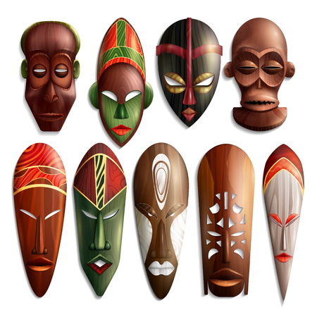Set of realistic african carved masks from wood with colorful ornament on white background isolated vector illustration